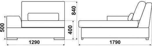 Модуль «Монца»: тахта, размер: 129*179*84