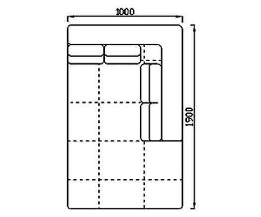 Модуль Спилберг: оттоманка 190, четыре подушки, размер 100*190