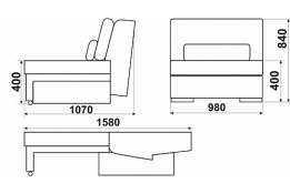 Модуль «Монца»: кресло трансформируемое, размер: 98*107*84, сп.м. 158*98